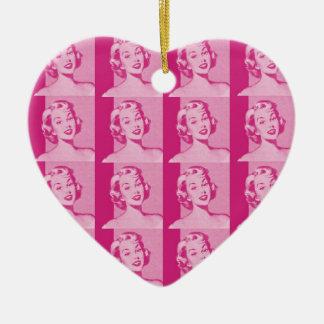 Retro Women Ceramic Heart Decoration
