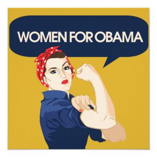 Retro Women for Obama 13 Cm X 13 Cm Square Invitation Card
