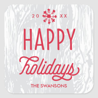 Retro Woodgrain Happy Holidays Gift Tag Sticker