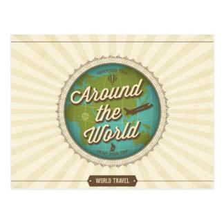 Retro World Travel Postcard