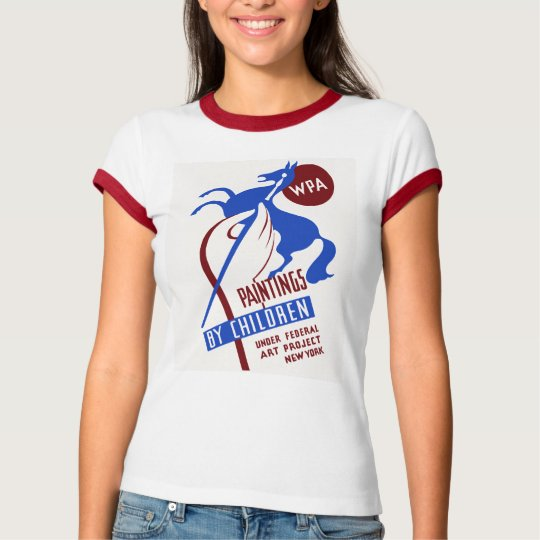 Retro WPA Art project hand drawing horse T-Shirt