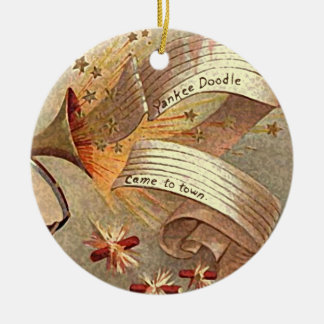 retro yankee doodle xmas decor round ceramic decoration