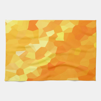 Retro Yellow and Orange Stained Glass Sunset Tea Towel