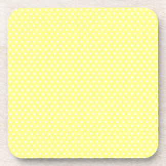 Retro yellow and white polka dot coaster