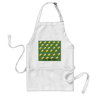 Retro yellow and white polka dots on green adult apron