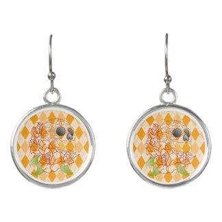 retro yellow argyle roses  sugar skull earrings
