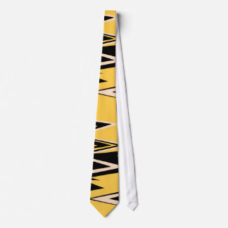 Retro Yellow, Black Zigzap Abstract Art Deco Tie