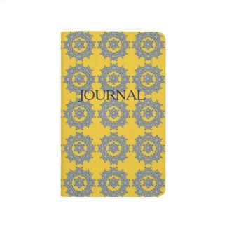 Retro Yellow & Blue Flower Tile Pocket Journal