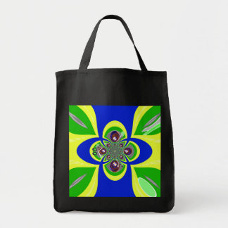 Retro yellow blue turntable design grocery tote bag
