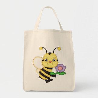 Retro Yellow Bumble Bee Canvas Bag
