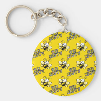 Retro Yellow Bumble Bee Pattern Basic Round Button Key Ring