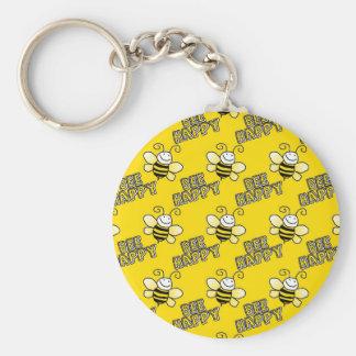Retro Yellow Bumble Bee Pattern Basic Round Button Key Ring