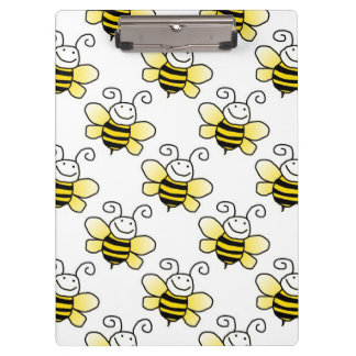 Retro Yellow Bumble Bee Pattern Clipboard