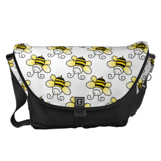Retro Yellow Bumble Bee Pattern Courier Bags