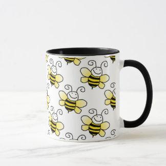 Retro Yellow Bumble Bee Pattern Mug