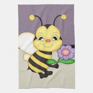 Retro Yellow Bumble Bee Tea Towel