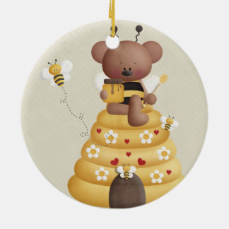 Retro Yellow Bumble Bee Teddy Bear Christmas Ornament