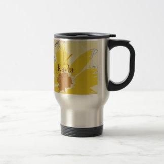 Retro Yellow Daisy Monogrammed Stainless Steel Travel Mug