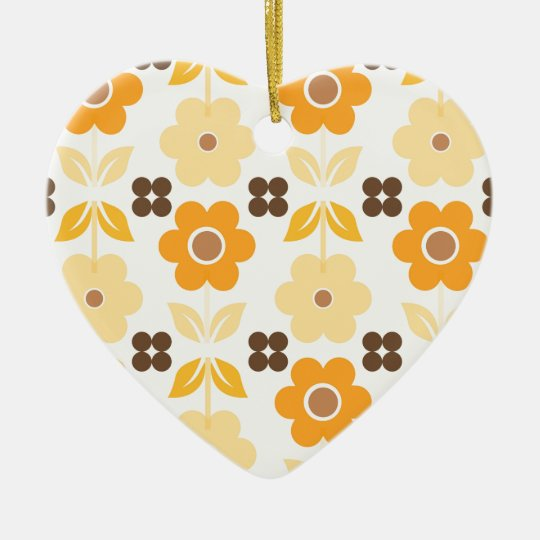 Retro Yellow Flowers Dble-sided Heart Ornanent Christmas Ornament