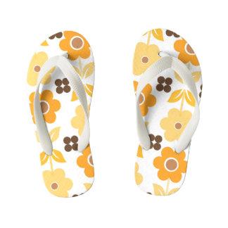 Retro Yellow Flowers Kids Flip Flops