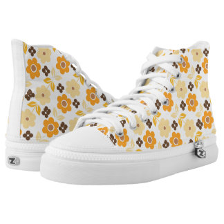 Retro Yellow Flowers Zipz High Top Shoes