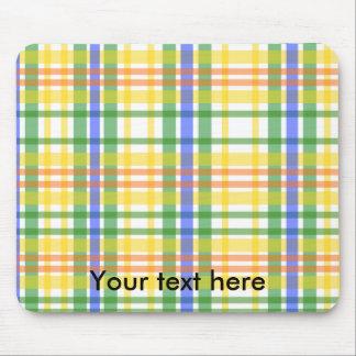 Retro yellow green blue plaid on white mouse pad