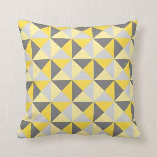 Retro Yellow Grey Geometric Triangles Pillow Zazzle Co Uk