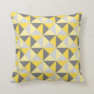 Retro Yellow Grey Geometric Triangles Pillow