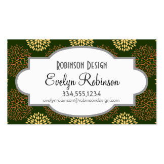 Retro Yellow, Orange, and Green Flowers, Floral Business Card