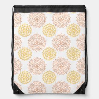 Retro Yellow, Orange, and White Flowers, Floral Drawstring Bags