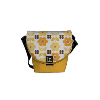 Retro Yellow/Orange Flowers Messenger Bags