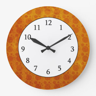 Retro Yellow Orange Grungy Polka Dots Pattern Wall Clock