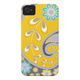 Retro yellow paisley motif custom Case-Mate iPhone 4 case