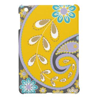 Retro yellow paisley motif custom iPad mini cases