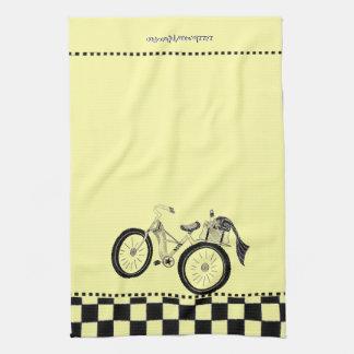 Retro Yellow Picnic Bicycle Tea Towel