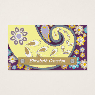 Retro yellow, plum paisley motif floral business card