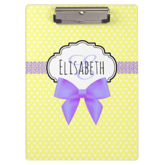 Retro yellow polka dot pink bow monogram clipboards