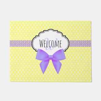 Retro yellow polka dot purple bow monogram doormat