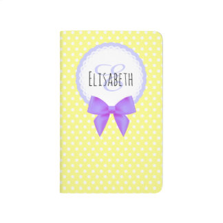 Retro yellow polka dot purple bow monogram journals