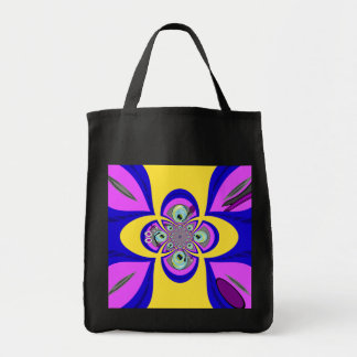 Retro yellow purple turntable design grocery tote bag