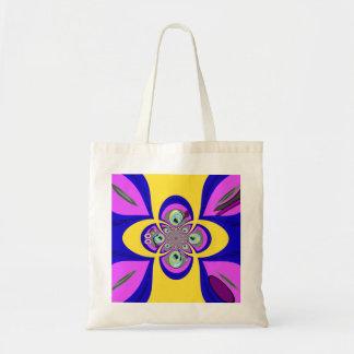 Retro yellow purple turntable design canvas bags