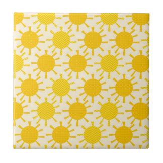 Retro Yellow Sunny Pattern Tile