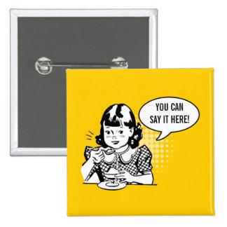 Retro Yellow & White Cute Girl Witty Humor Button