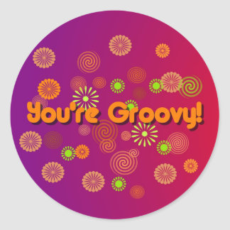 Retro You 're Groovy Flower Stickers