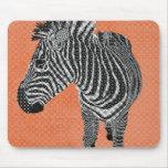 Retro Zebra Orange Mousepad