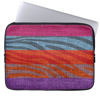 Retro Zebra Skin Print Pattern Burlap Rustic #10 Laptop Computer Sleeves