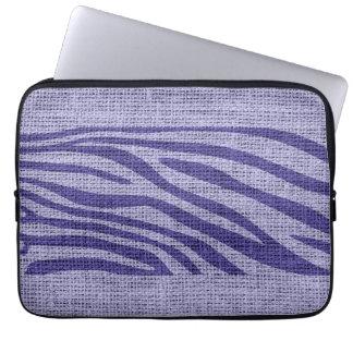 Retro Zebra Skin Print Pattern Burlap Rustic #9 Laptop Sleeve