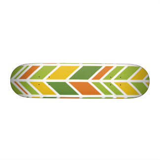 Retro Zig-Zag Orange and Green Skateboard