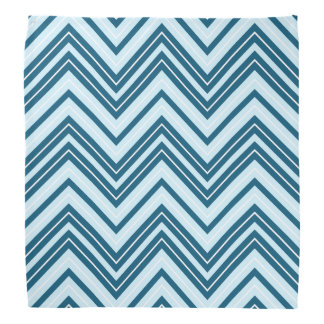 Retro Zigzag Pattern Blues & White Bandana