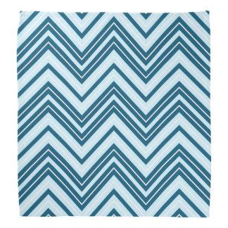 Retro Zigzag Pattern Blues & White Bandanna